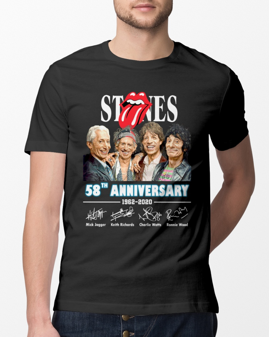 The Rolling Stones 58th Anniversary 1962 2020 Signature Men Black Tshirt Sport Fantasic